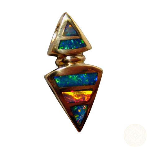opal pendant   gold geometric inlay flashopal