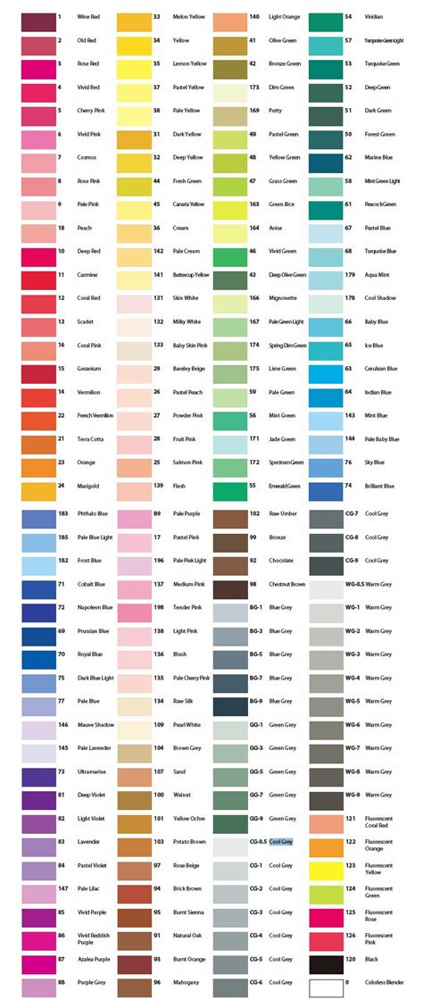 print copic color chart complete color chart color