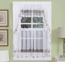 Vintage Embroidered Kitchen Curtain - Available in Rose, Gold, Blue