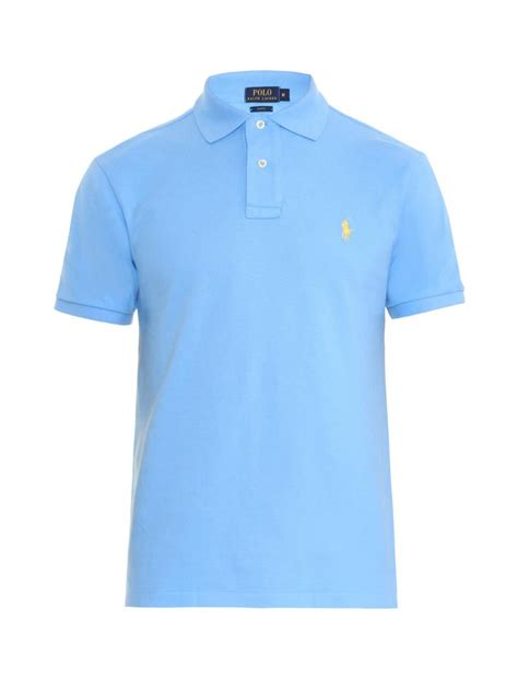 light blue polo shirt womens polo ralph lauren slim fit cotton piqué polo shirt in blue