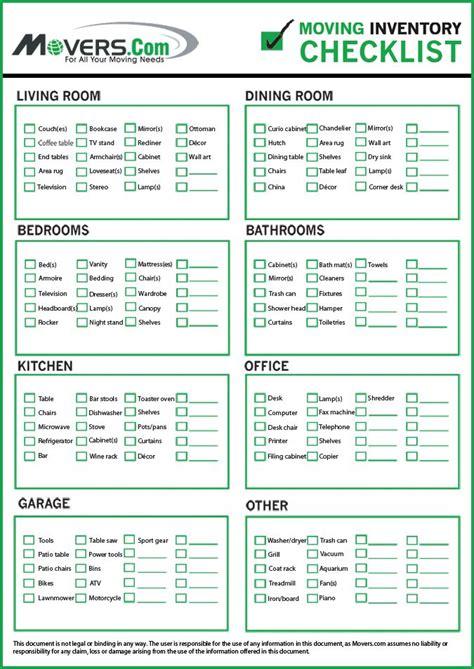 moverscom home inventory checklist   moving