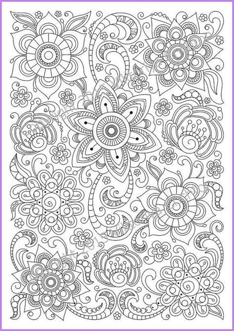 soloring page doodle flowers printable zen doodle