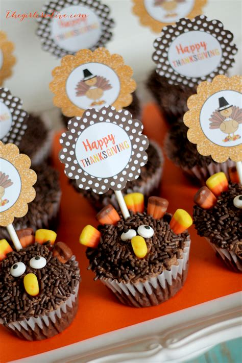 turkey cupcakes  printable toppers  girl creative