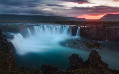 wallpaper godafoss waterfalls iceland nature