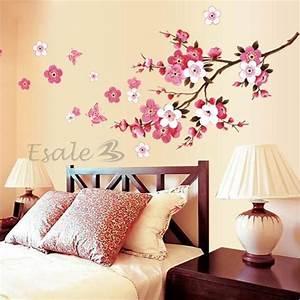 sticker autocollant mural fleurs deco mur maison chambre With chambre bébé design avec bouquets ronds fleurs