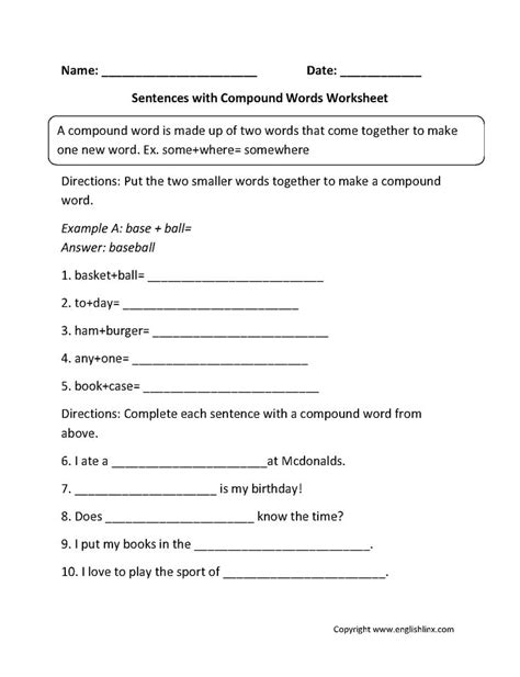 sentences  compound words worksheets  images