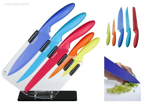 colored knife set kitchen knife set block stainless steel 5 knives