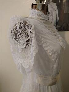 vintage white lace wedding dress victorian edwardian style With pioneer wedding dresses