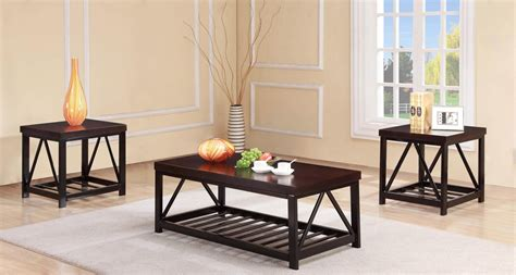 dark wood coffee  table set occasional tables
