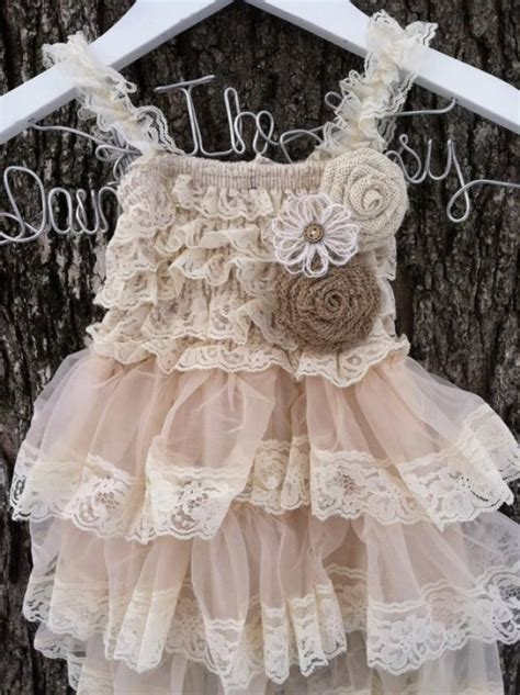 rustic flower girl dress lace pettidress country wedding