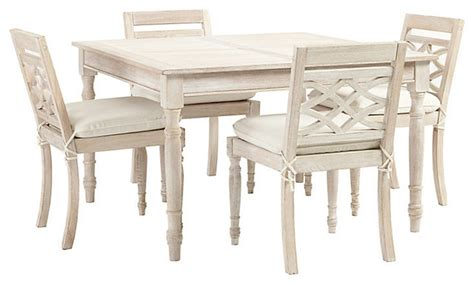 ceylon whitewash 5 square dining set traditional