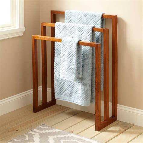 layla teak towel hanger   levels bathroom