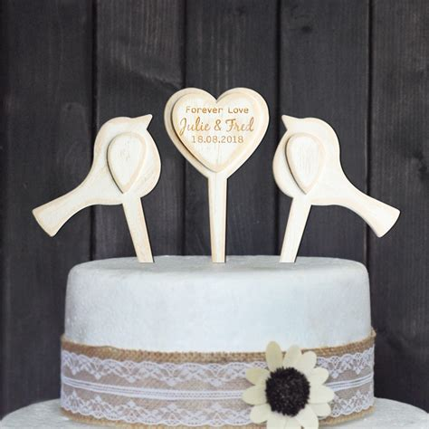 Personalized Wedding Cake Topper Love Birds Wood Cake