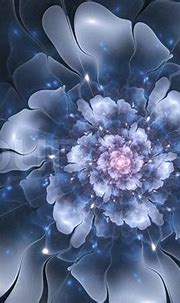 Beautiful abstract fractal flower, blue color   Stock ...