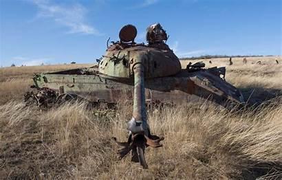 Tank T55 Exploded Rusty Gun Field Ussr