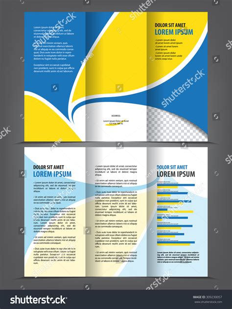 Trifold Design Template Empty by Vector Empty Trifold Brochure Print Template Stock Vector