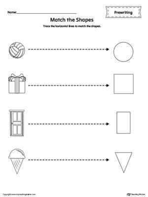 shapes  tracing prewriting worksheet  tracing