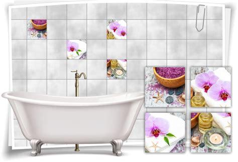 Fliesenaufkleber Orchidee by Fliesenaufkleber Fliesenbild Orchidee Lila Pink Kerze Salz