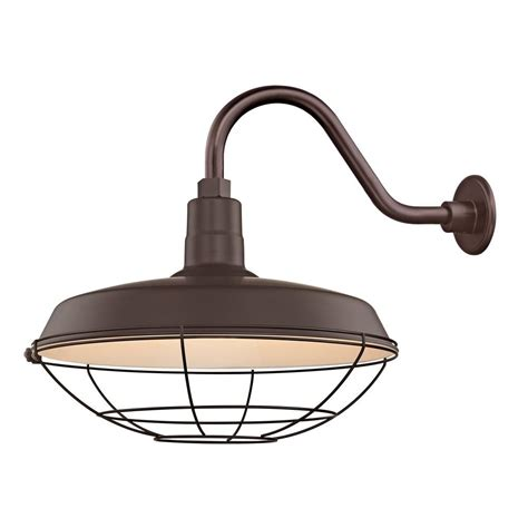 barn light outdoor wall light bronze with gooseneck arm quot cage shade