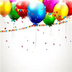 Vector Birthday Balloons and Confetti