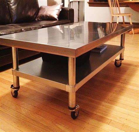 Stainless Steel Coffee Table With Adjustable Shelf On Lockable Caster Wheels   Farmhouse