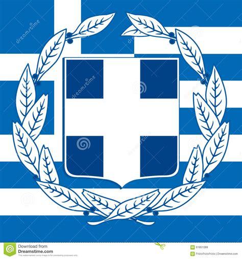 griechenland wappen und flagge stock abbildung