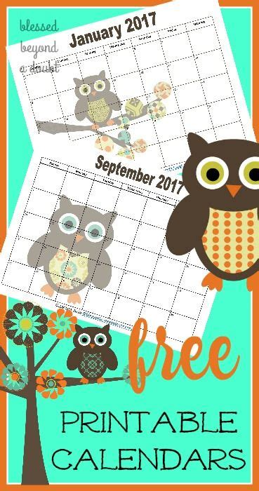 monthly printable calendars owl themed labels lists