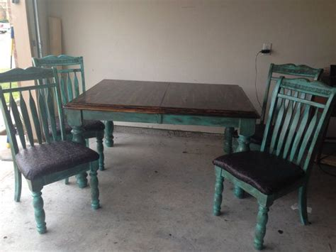 chic turquoise antiqued and distressed table and chairs