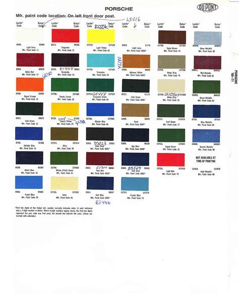 porsche colors chips codes paint s cars