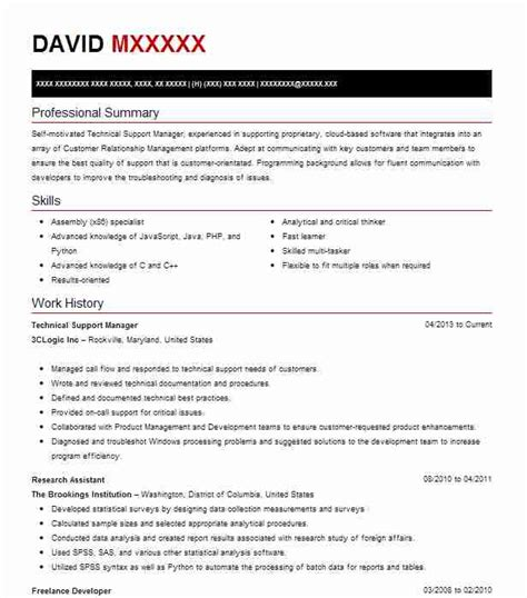 Technical Support Representative Resume by Technical Support Manager Resume Sle Livecareer