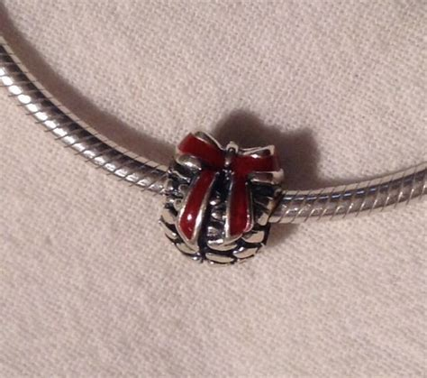 unbrand antique sterling silver christmas red bow pinecone