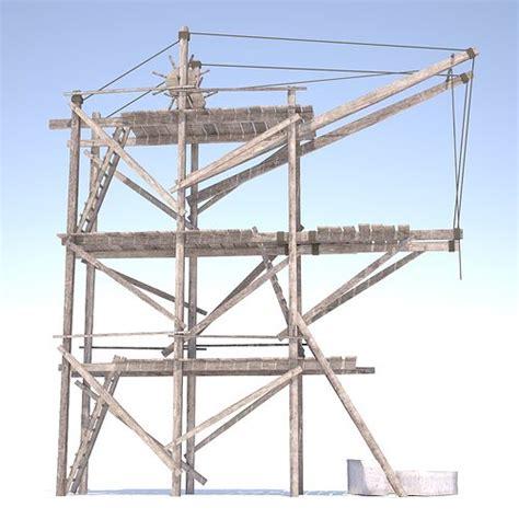 wooden scaffolding  handle crane  model obj ds