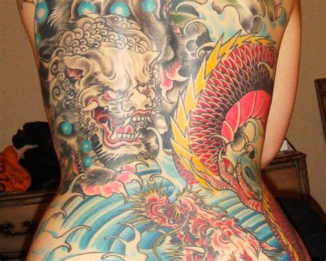 ferocious foo dog tattoos teeming  personality
