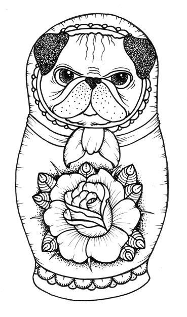 nesting doll coloring pages | Traditional Russian Nesting Matryoshka Doll Day Of The Dead Tattoo