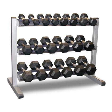 dumbbell rack set solid 3 tier rack bodypower 1 10kg rubber hex