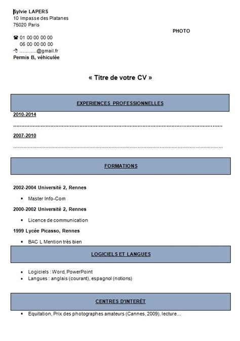 Nouveau Type De Cv by Modele Type Cv Type De Cv Artere Adour Tigf
