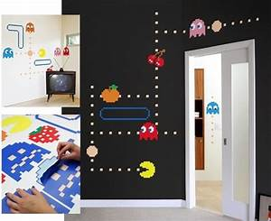 wall stickers with pacman geek decor for my apartament With pacman wall decals gamers room ideas