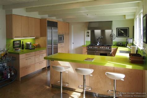 Modern Maple Kitchen with Green Caesarstone Countertops
