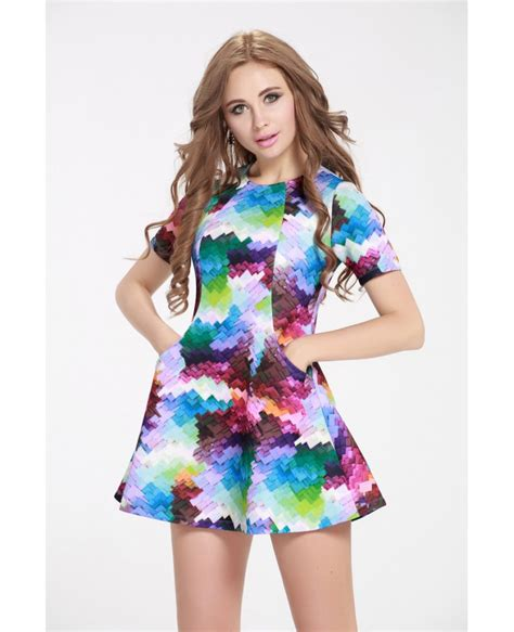 colorful shorts colorful prints dress for summer holidays dk250 58