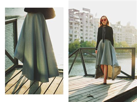 Grey Skirt And Bow Tie Top Romantic Fall Outfit Idea