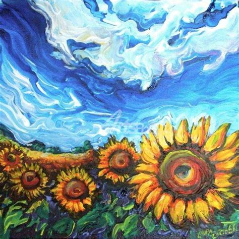 Sunflower Living Room by Starry Night And Sunflower Field Oil Painting Paintings
