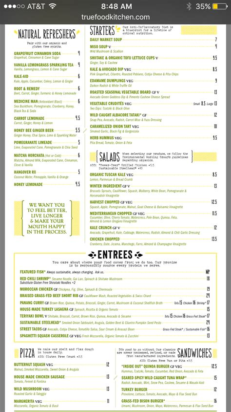 true food kitchen menu true food kitchen amazing not to