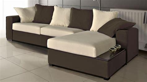 canape d angle bicolore canapé d 39 angle en microfibre bicolore marron et blanc pas cher