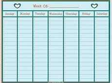 One Week Calendar Layout 2018 Calendar Printable