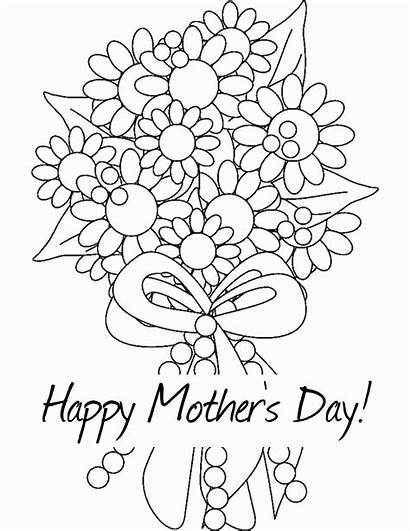 Coloring Flowers Bouquet Mothers Mother Pages Flower