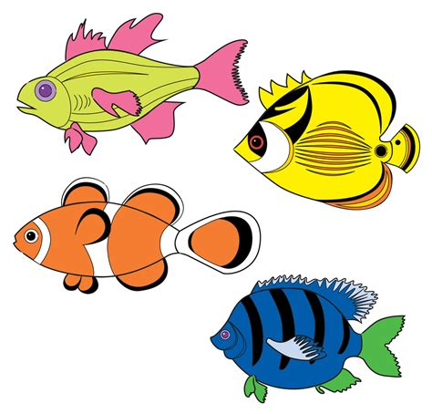 tropical fish drawings clipart