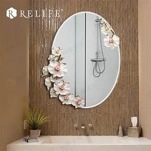 Modern Oval Mirror Bathroom Decorative Anti fog Resin