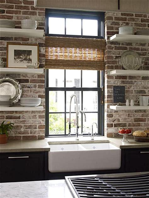 exposed brick kitchen backsplash modern style meets world charm exposed brick 7104
