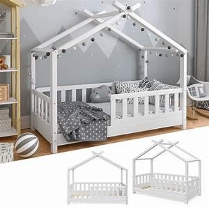 Kinderbett Mit Rausfallschutz 90x200 : kinderbett hausbett design wei 70x140cm zaun kinder real ~ Watch28wear.com Haus und Dekorationen