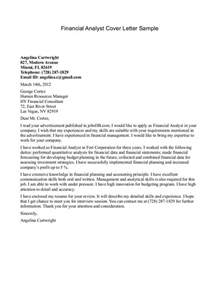 sle financial analyst cover letter the letter sle